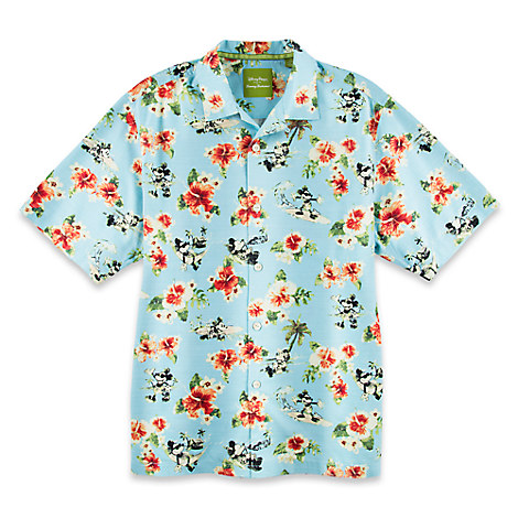 Mickey Mouse Woven Floral Shirt for Men by Tommy Bahama - Blue