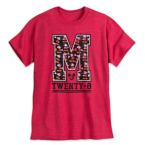 Mickey Mouse Letterman Tee for Adults - Red