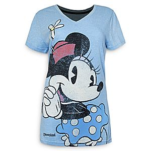 Minnie Mouse V-Neck T-Shirt - Disneyland - Blue - Women