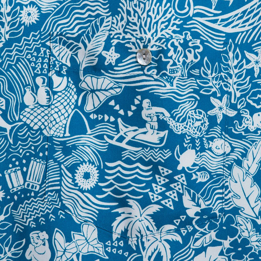 Aulani, A Disney Resort & Spa Aloha Shirt with Shell Buttons for Men by Tori Richard