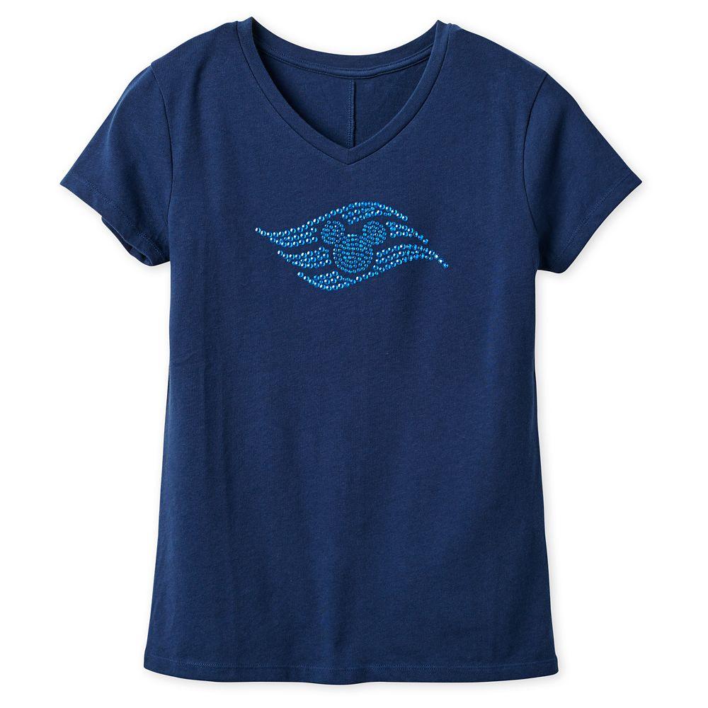 Disney Cruise Line Logo Studded T-Shirt for Women  Navy
