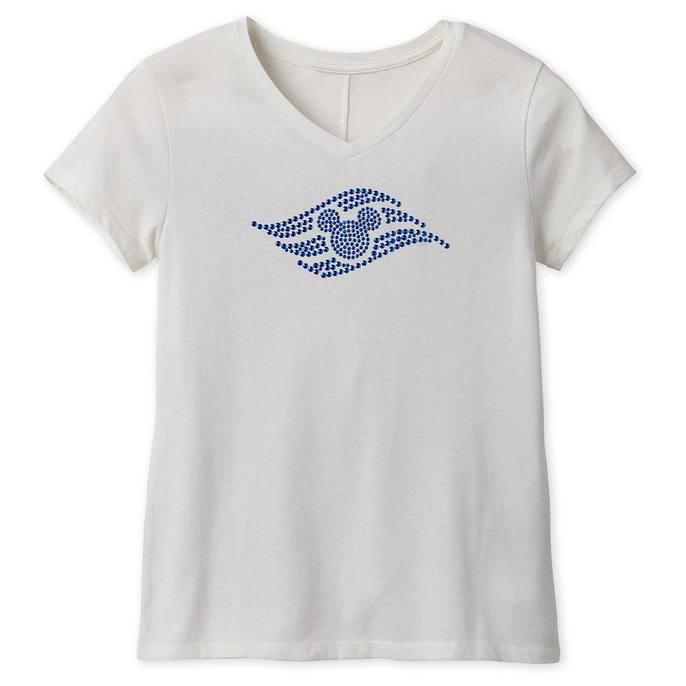 Disney Cruise Line Logo Studded T-Shirt for Women  White