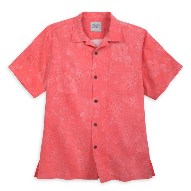 Mickey Mouse Jacquard Aloha Silk Shirt for Men by Tommy Bahama – Coral