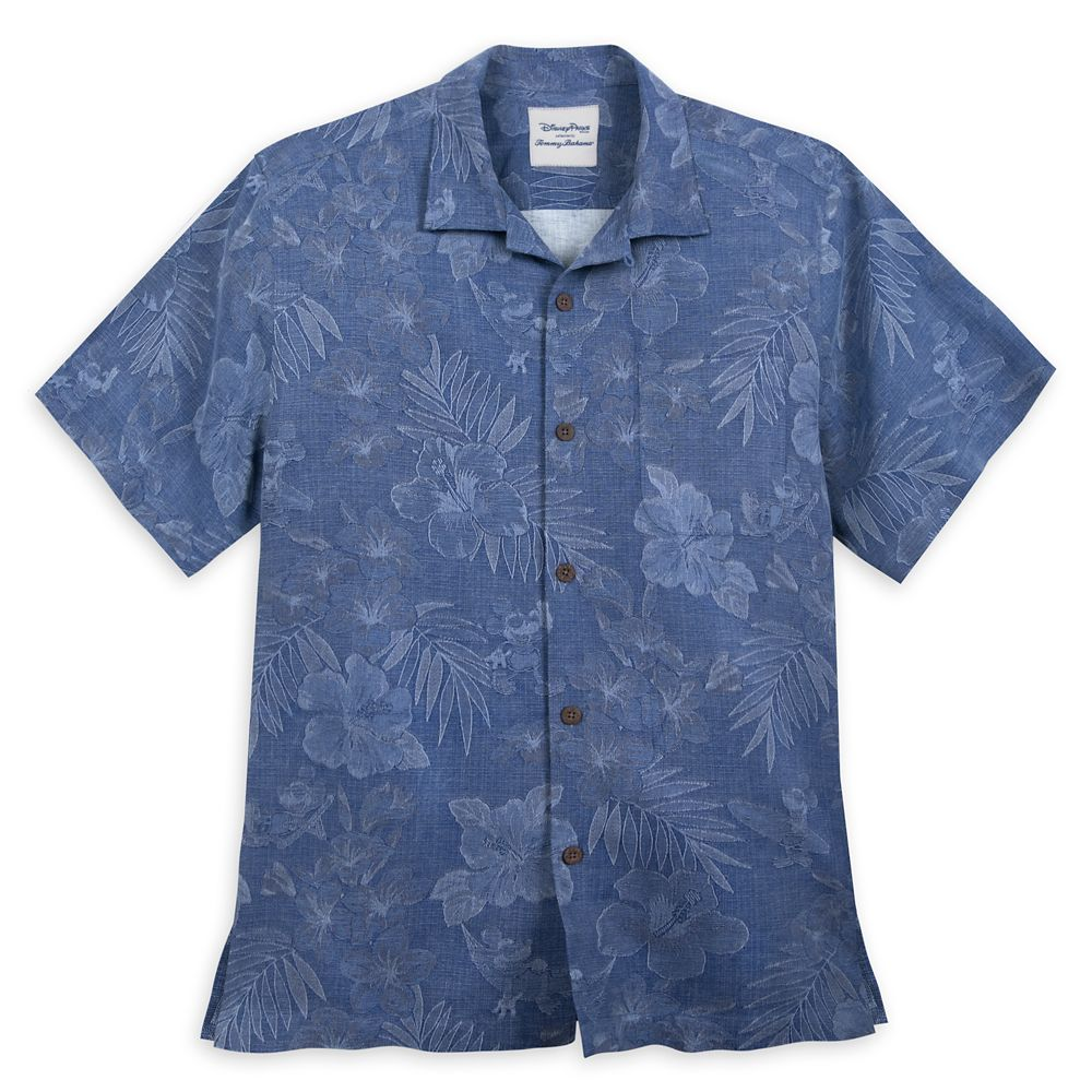 Mickey Mouse Jacquard Aloha Silk Shirt for Men by Tommy Bahama – Blue