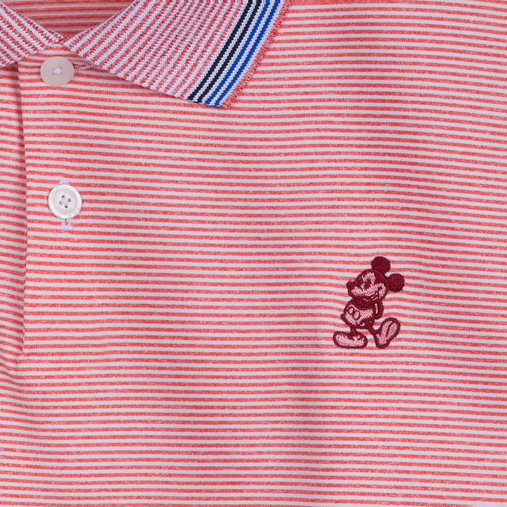 Mickey Mouse Striped Performance Polo Shirt for Men by Nike – Orange