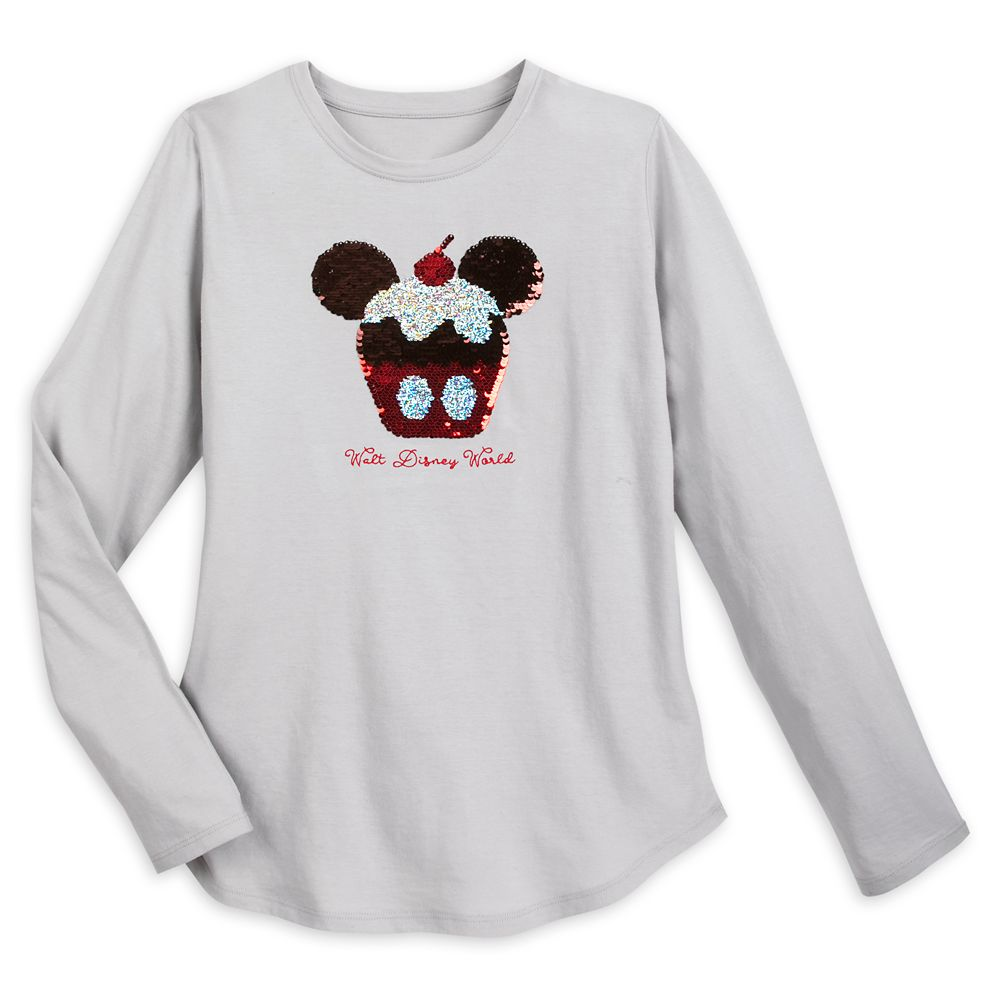 Mickey Mouse Cupcake Reversible Sequin T-Shirt for Women – Walt Disney World