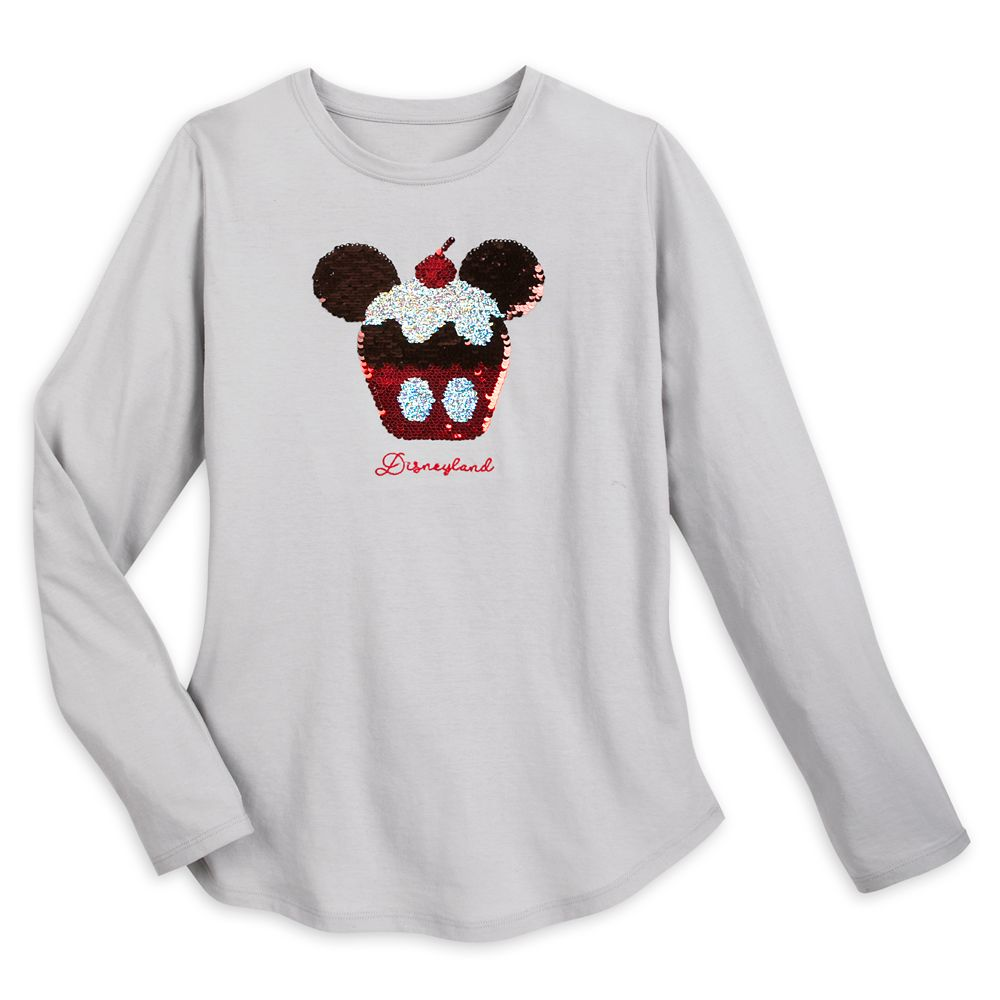 Mickey Mouse Cupcake Reversible Sequin T-Shirt for Women – Disneyland