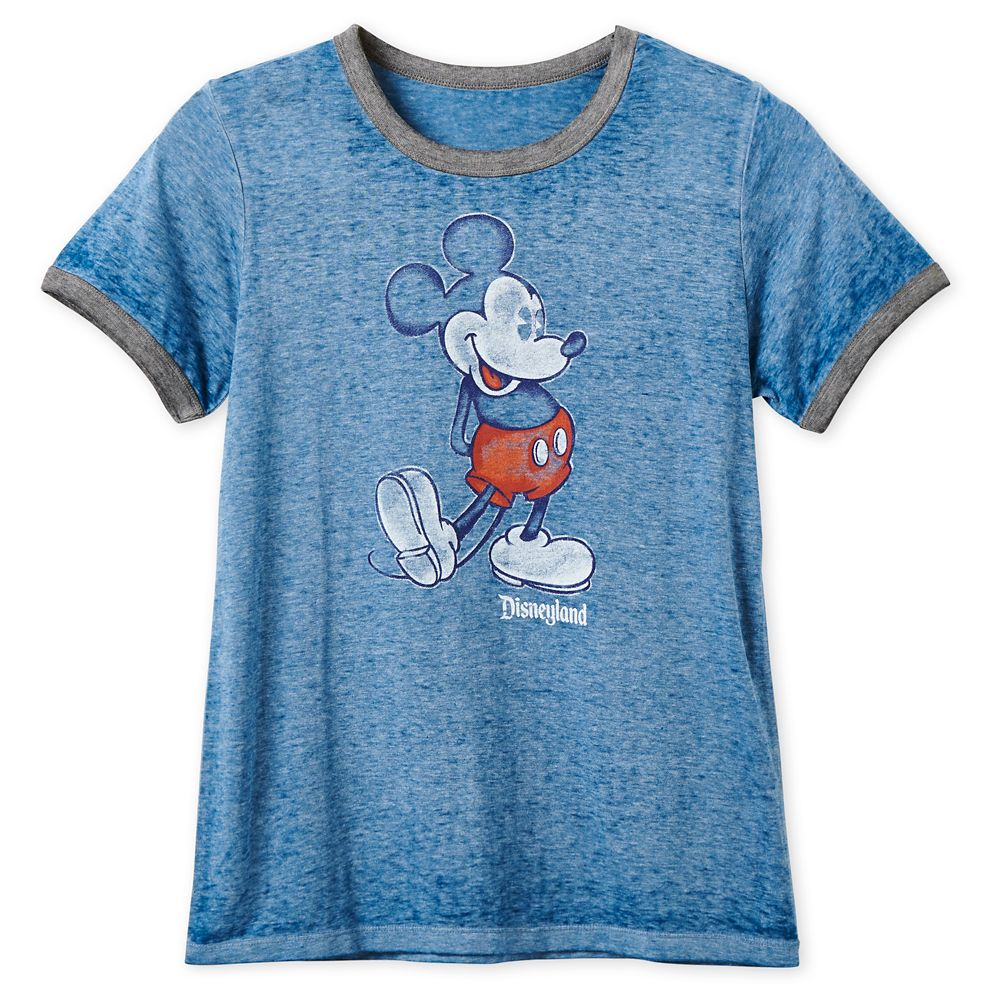 Mickey Mouse Heathered Ringer T-Shirt for Women – Disneyland – Navy
