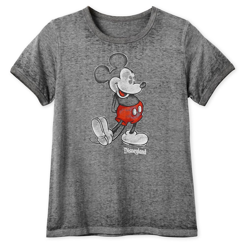 Mickey Mouse Heathered Ringer T-Shirt for Women  Disneyland  Black