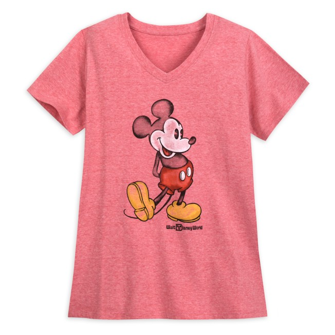 Mickey Mouse Heathered V-Neck T-Shirt for Women – Walt Disney World – Red