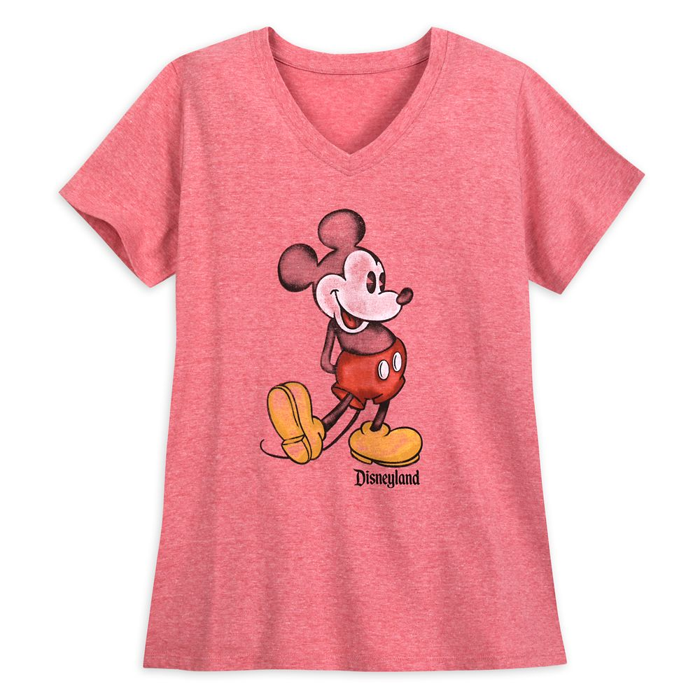 Mickey Mouse Heathered V-Neck T-Shirt for Women  Disneyland  Red