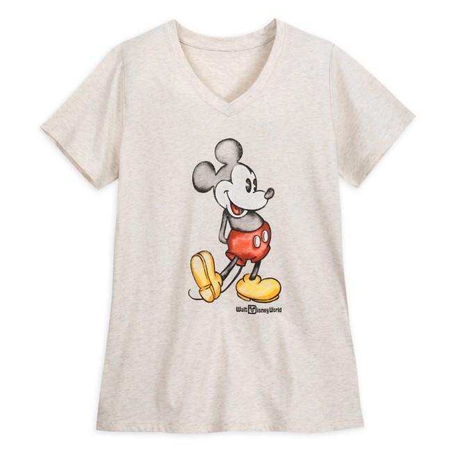 Mickey Mouse Heathered V-Neck T-Shirt for Women – Walt Disney World – Oatmeal