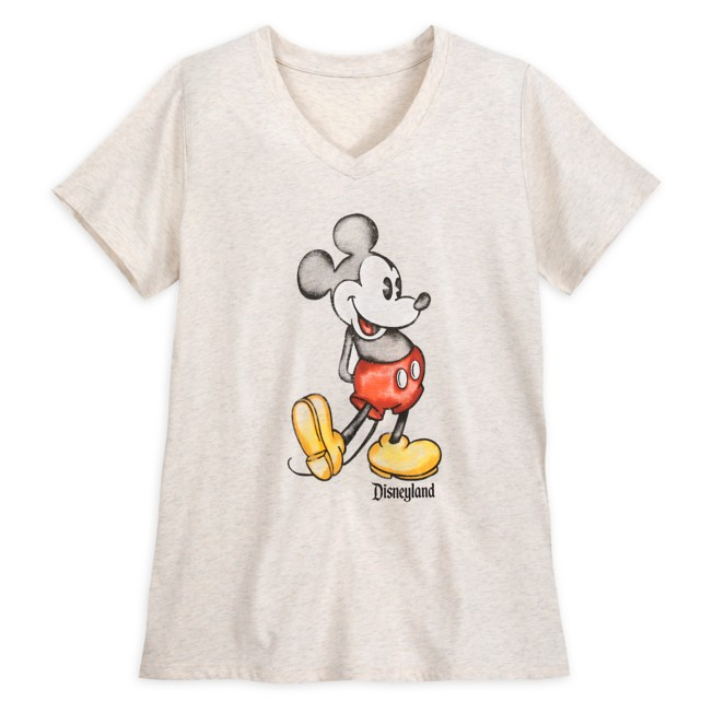 Mickey Mouse Heathered V-Neck T-Shirt for Women – Disneyland – Oatmeal