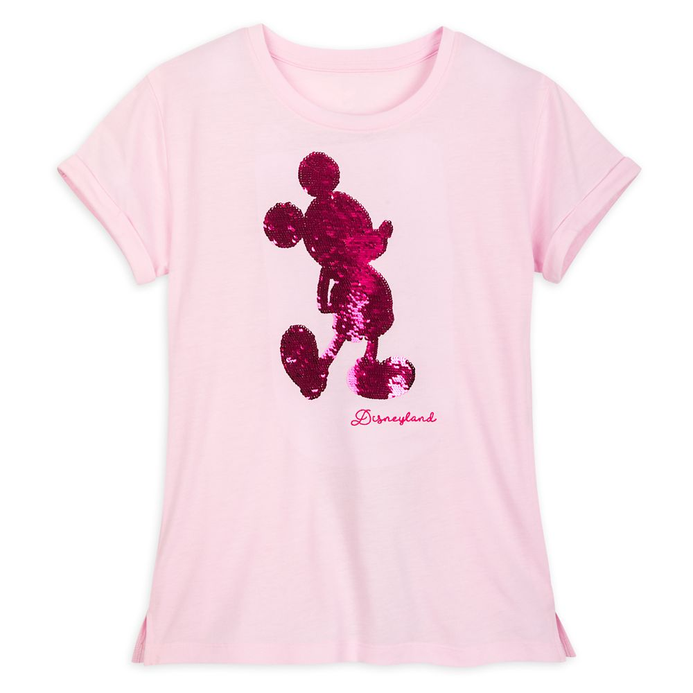 Mickey Mouse Reversible Sequin T-Shirt for Women – Disneyland