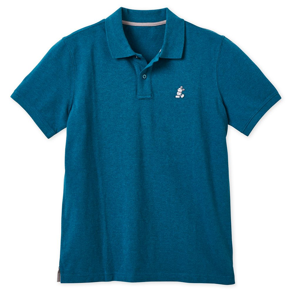 Mickey Mouse Pique Cotton Polo Shirt for Men – Heathered Teal