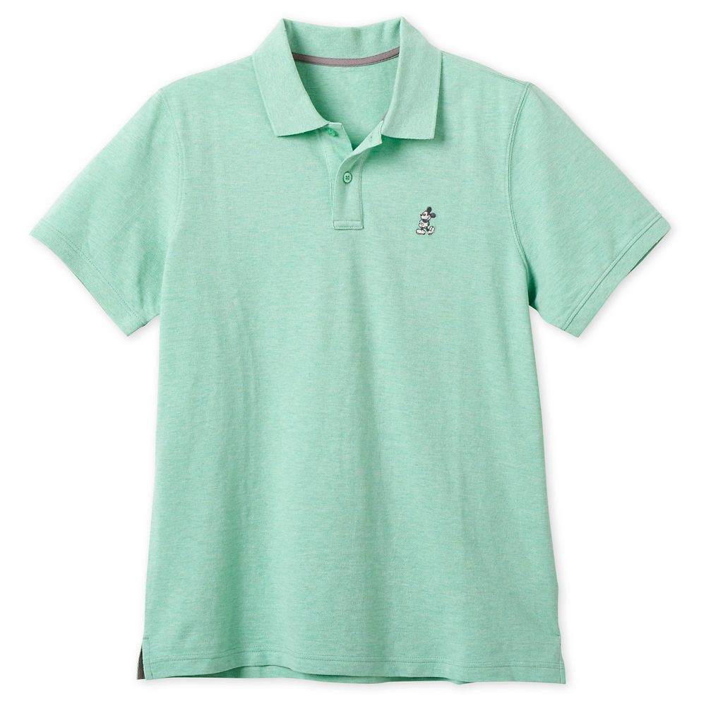 Mickey Mouse Pique Cotton Polo Shirt for Men  Heathered Mint Official shopDisney