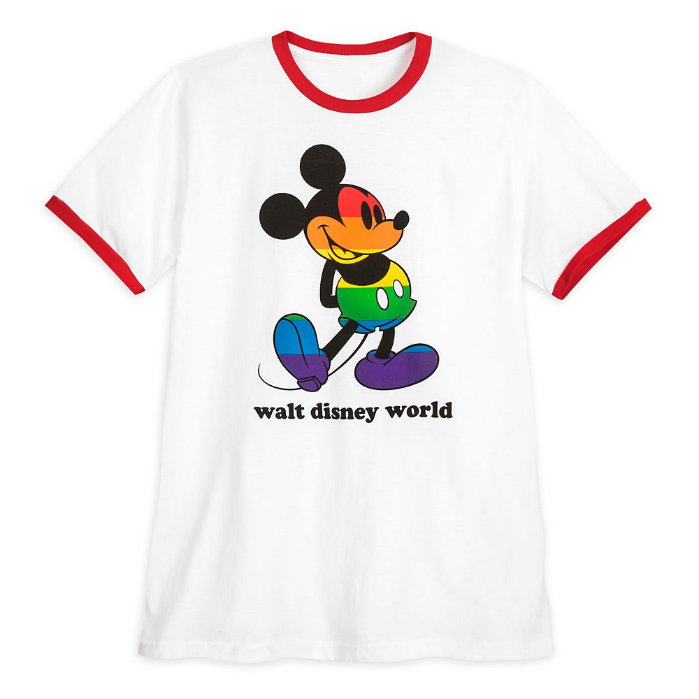 Rainbow Disney Collection Mickey Mouse Ringer T-Shirt for Adults – Walt Disney World