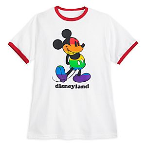 Rainbow Disney Collection Mickey Mouse Ringer T-Shirt for Adults - Disneyland