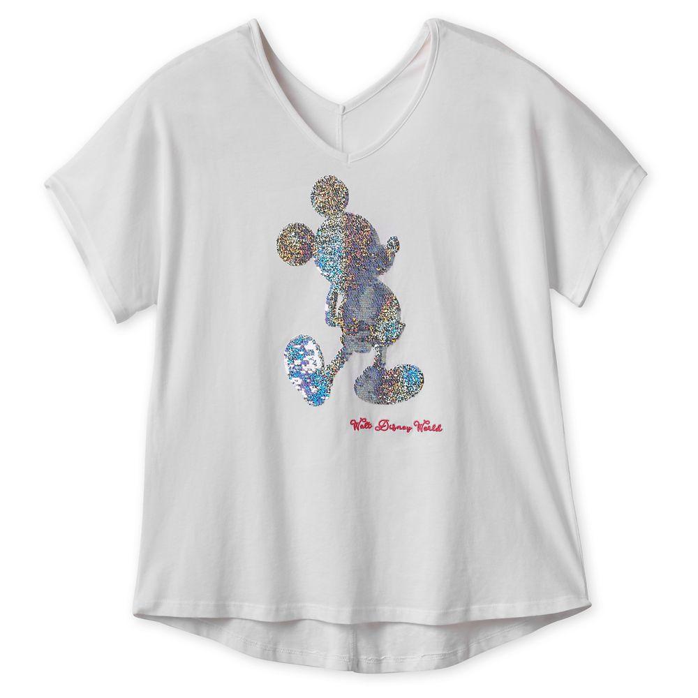 Mickey Mouse Reversible Sequin T-Shirt for Women  Walt Disney World