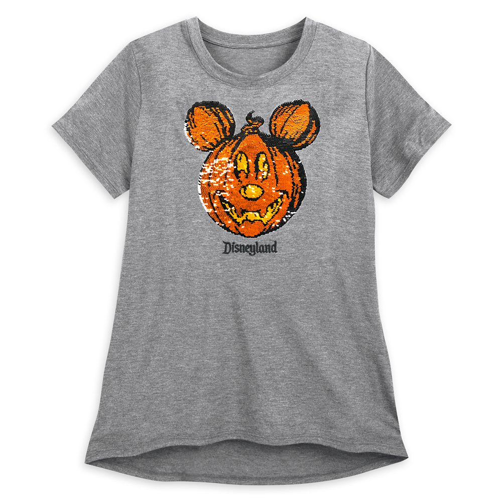 Mickey Mouse Reversible Sequin Pumpkin T-Shirt For Women – Disneyland