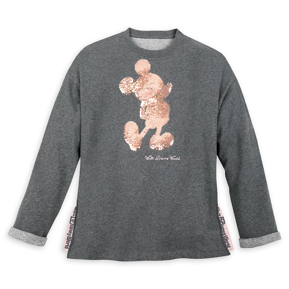 Mickey Mouse Reversible Sequin Briar Rose Gold Pullover for Women  Walt Disney World