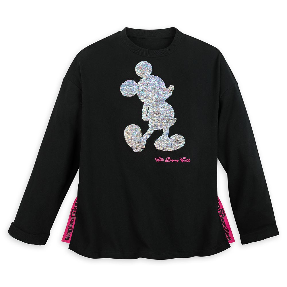 Mickey Mouse Reversible Sequin Sweatshirt for Women - Walt Disney World - Black