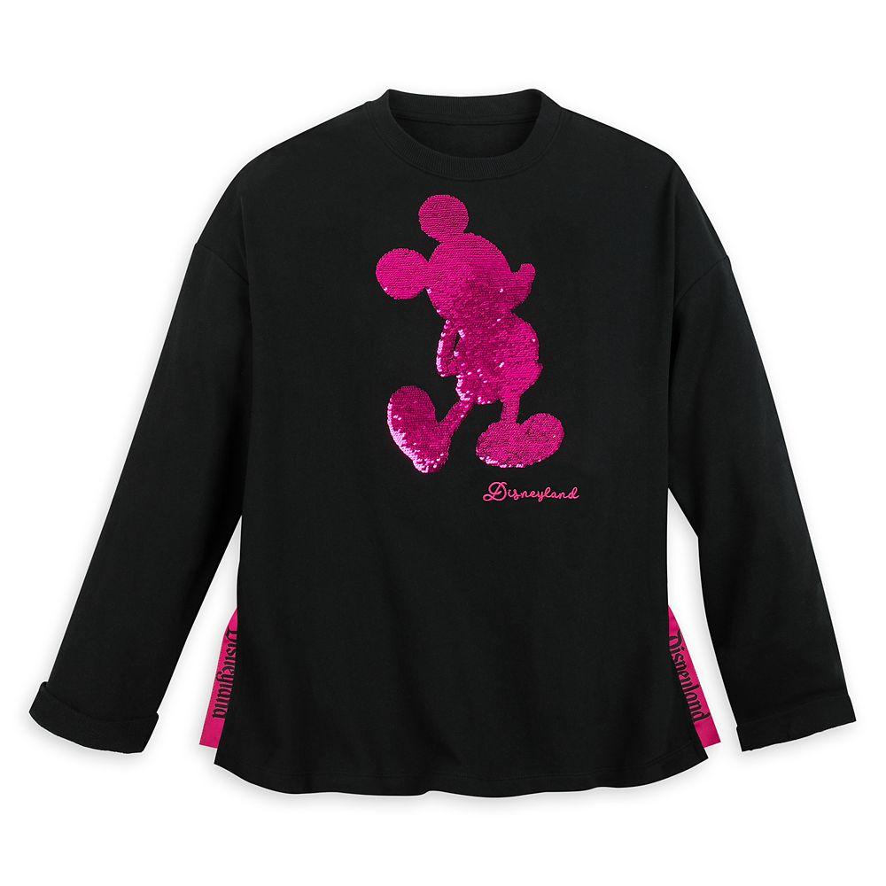Mickey Mouse Reversible Sequin Sweatshirt for Women – Disneyland – Black
