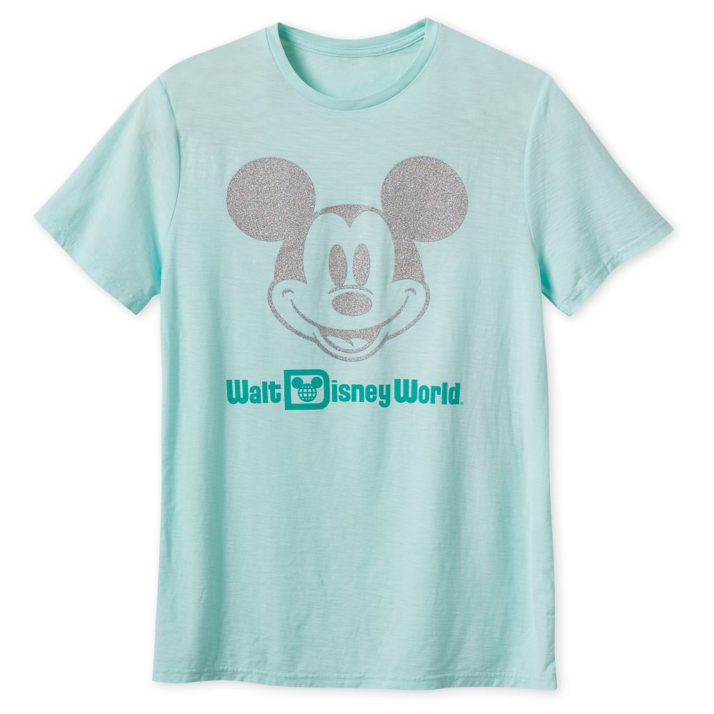 Mickey Mouse Glitter T-Shirt for Adults – Walt Disney World – Arendelle Aqua
