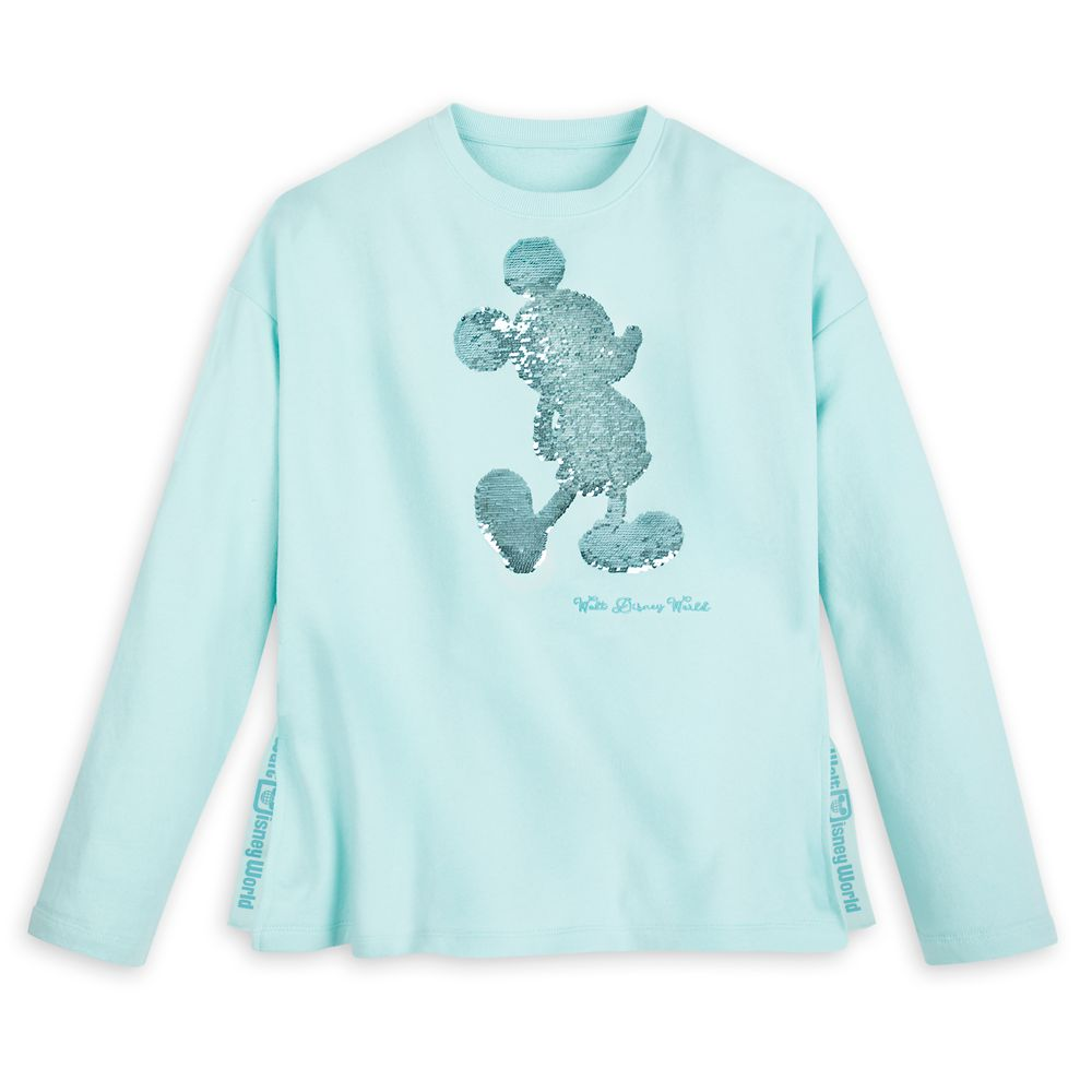 Mickey Mouse Reversible Sequin Sweatshirt for Women – Walt Disney World – Arendelle Aqua