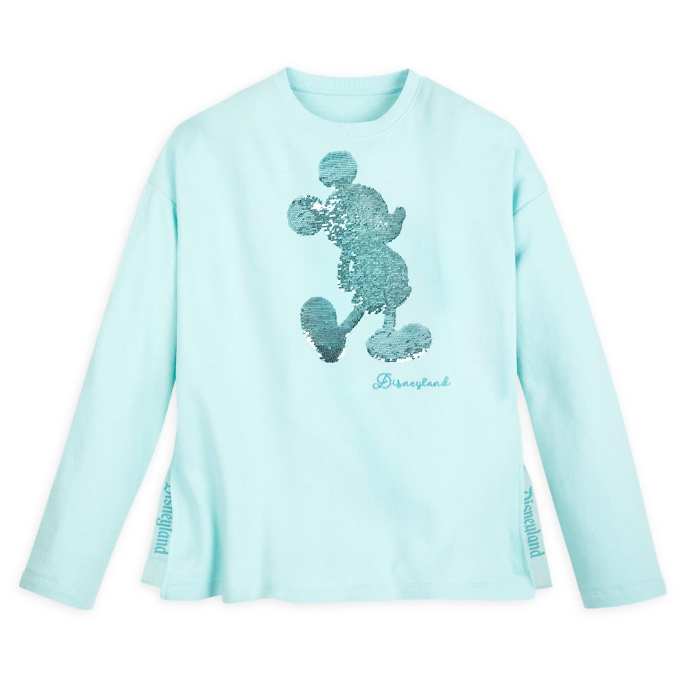 Mickey Mouse Reversible Sequin Sweatshirt for Women – Disneyland – Arendelle Aqua