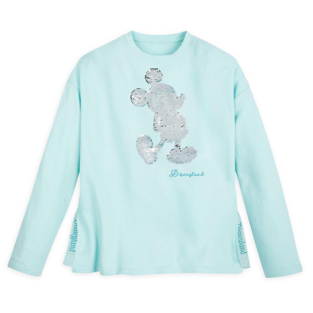 Mickey Mouse Reversible Sequin Sweatshirt for Women – Disneyland – Arendelle Aqua