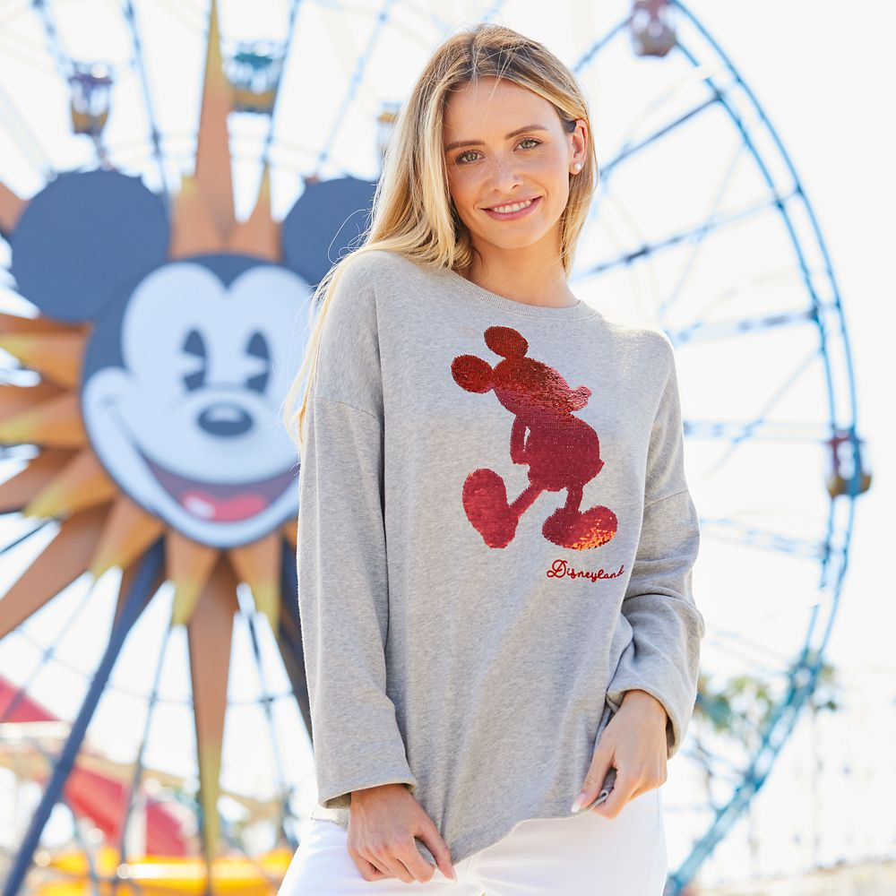 Mickey Mouse Reversible Sequin Sweatshirt for Women – Disneyland – Gray