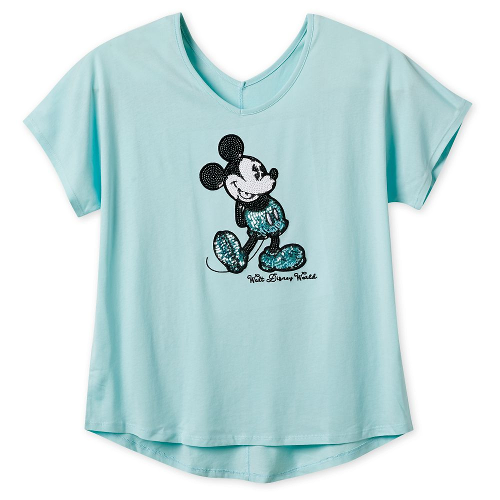 Mickey Mouse Sequined T-Shirt for Women – Arendelle Aqua – Walt Disney World