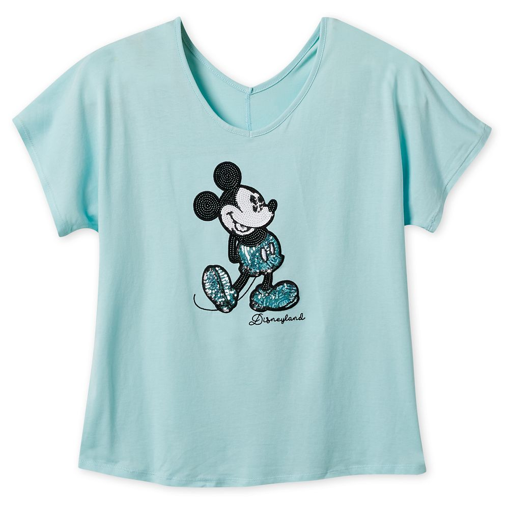 Mickey Mouse Sequined T-Shirt for Women – Arendelle Aqua – Disneyland