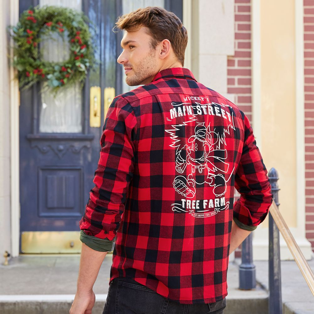 Mickey Mouse Holiday Flannel Shirt for Men