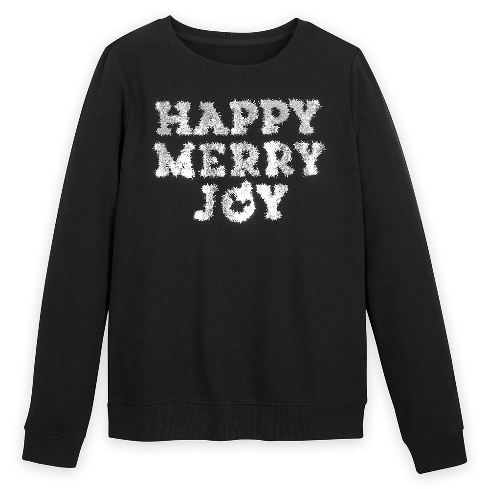 ''Happy Merry Joy'' Tinsel Pullover Sweatshirt for Women