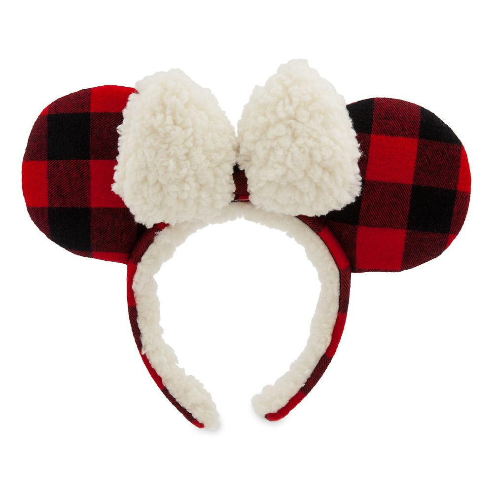 Minnie Mouse Plaid Holiday Ear Headband for Adults