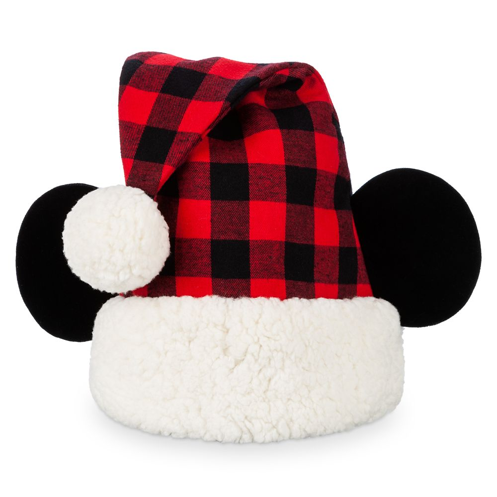 Mickey Mouse Plaid Santa Hat for Adults
