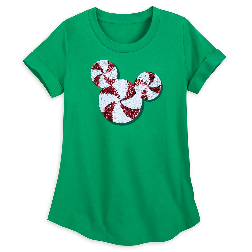 Mickey Mouse Peppermint Sequined T-Shirt for Women