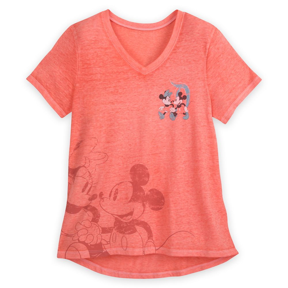 Mickey and Minnie Mouse V-Neck T-Shirt for Women – Disneyland