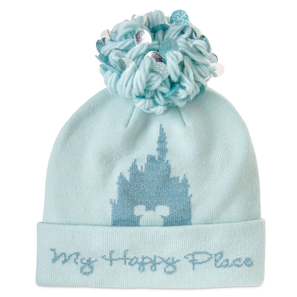 Disney Parks ''My Happy Place'' Knit Pom Pom Hat for Adults