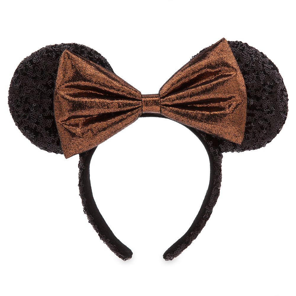 Minnie Mouse Sequined Ear Headband with Belle Bronze Bow