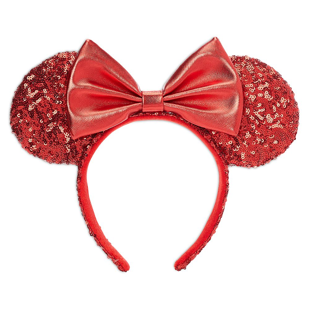 Minnie Mouse Sequined Ear Headband for Adults – Red