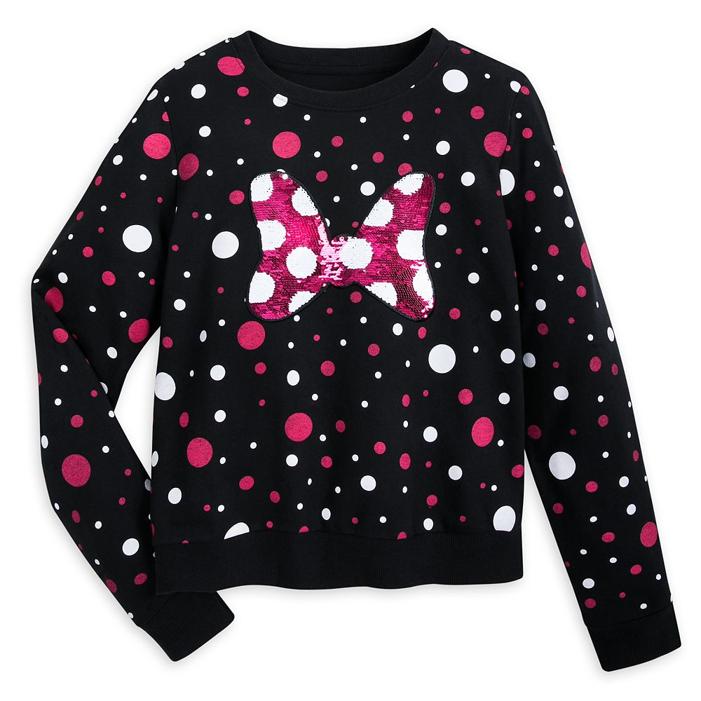 Minnie Mouse Bow Reversible Sequin Sweatshirt for Women