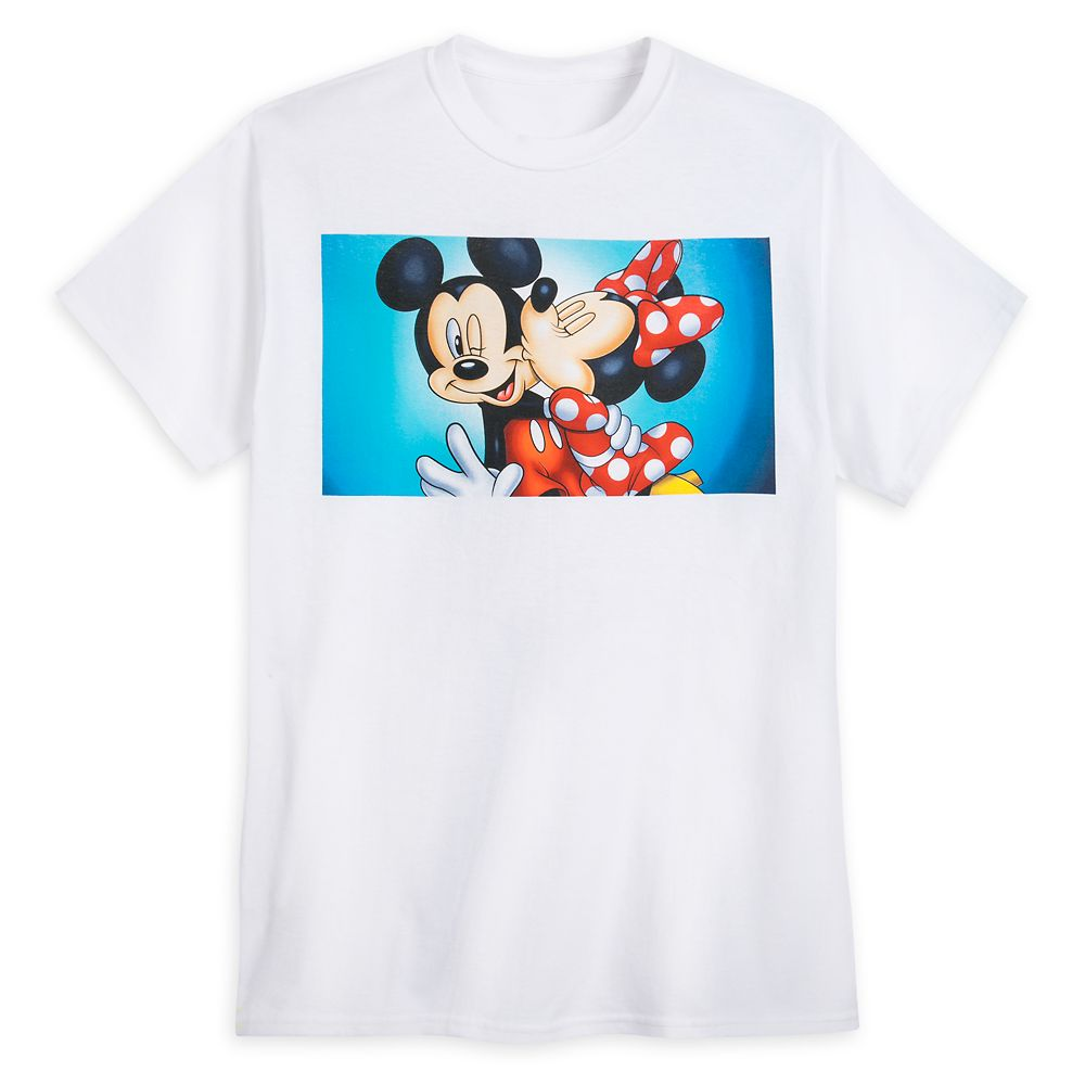 Mickey and Minnie Mouse Kiss T-Shirt for Adults
