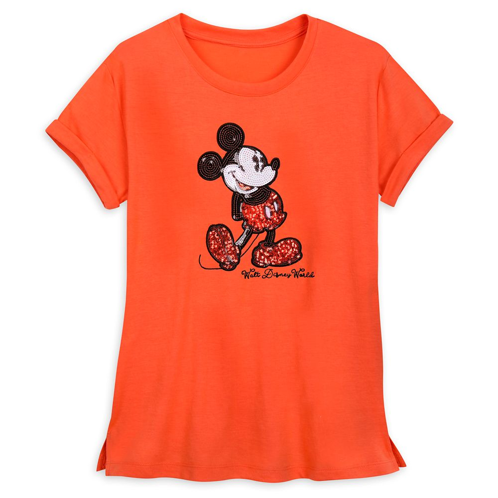 Mickey Mouse Sequined T-Shirt for Women – Coral – Walt Disney World