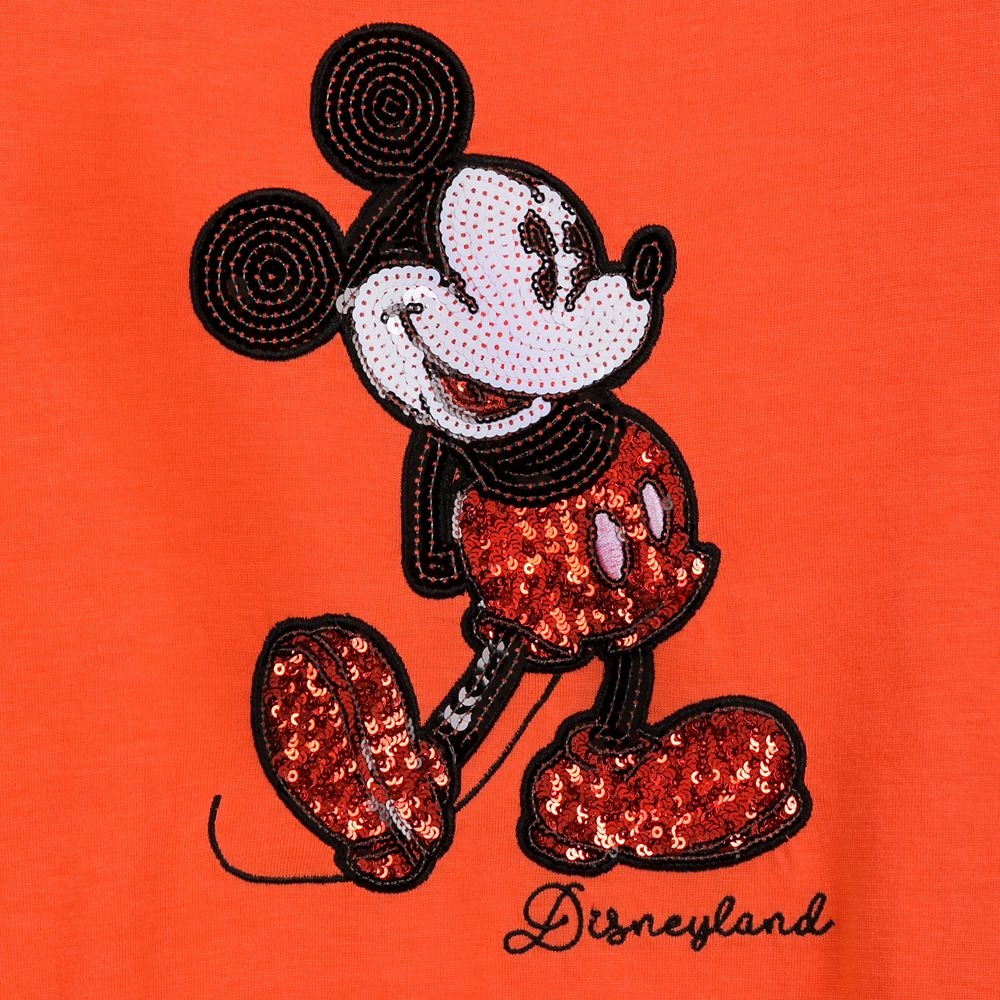 Mickey Mouse Sequined T-Shirt for Women – Coral – Disneyland