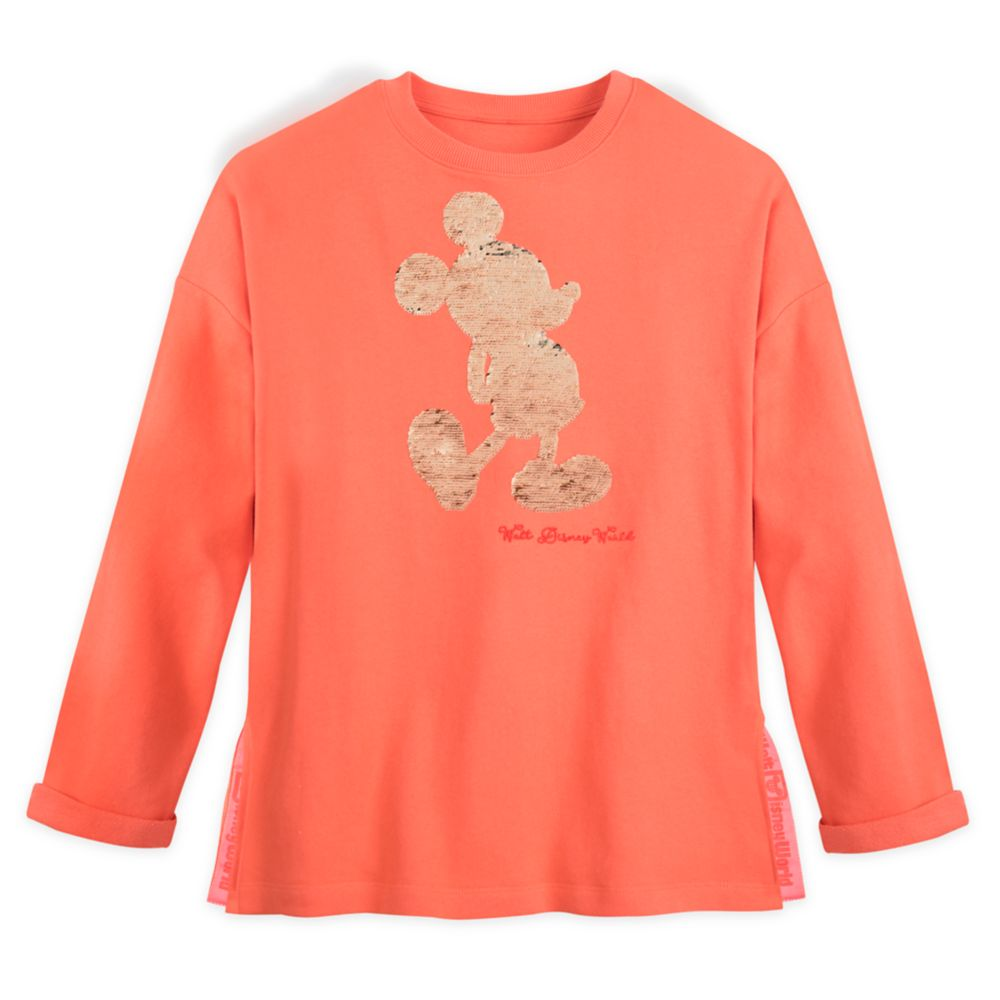 Mickey Mouse Reversible Sequin Pullover for Women – Walt Disney World – Coral