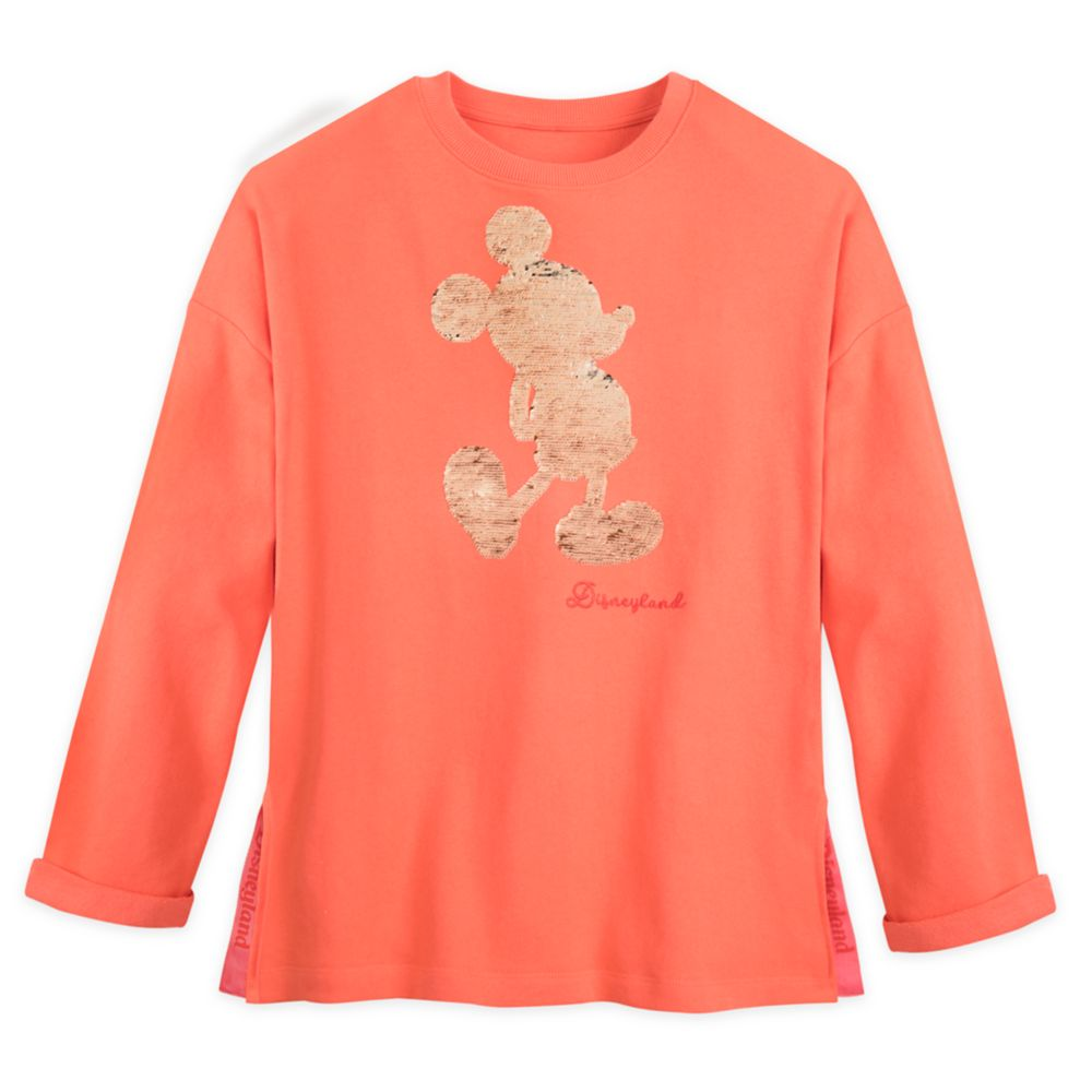 Mickey Mouse Reversible Sequin Pullover for Women – Disneyland – Coral