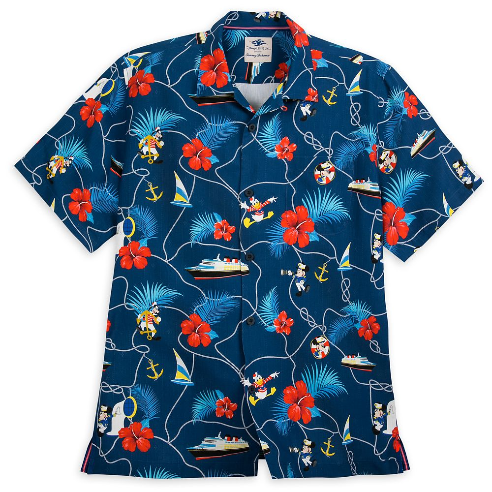 Captain Mickey Mouse and Crew Silk Shirt for Men by Tommy Bahama  Disney Cruise Line